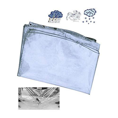 JXQ Lona impermeable transparente a prueba de polvo para pérgola cubierta de coche de PVC grueso impermeable cortina, 22 tamaños, (400 g/㎡) (color: transparente, tamaño: 1 x 2 m)