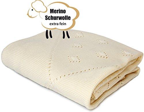 Babydecke Kuscheldecke und Schmusedecke aus 100% Merino Wolle extra fine