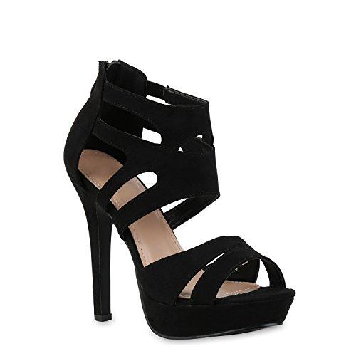 stiefelparadies Damen Pumps Plateausandaletten Stilettos Cut-Outs Schuhe Sandaletten 121436 Schwarz 38 Flandell