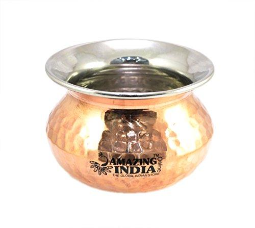 Amazingindiaonline - Cuencos de cobre indio pequeños hechos a mano para vajilla de 464 ml