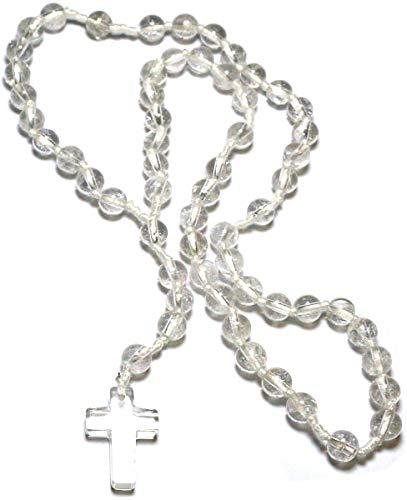 Gebetskette Rosenkranz aus Bergkristall, 59 Kugeln, Kristall für Klarheit und Erkenntnis