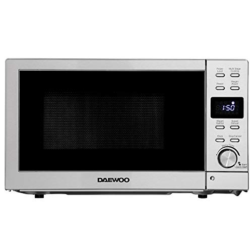 Daewoo 20L 800W Microwave with Easy Clean Stainless Steel KOR6L5R 6 Power Levels and Manual 30 Minute Timer, Push Release Door and Glass Turntable- White