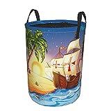 Cesto de lavandería redondo,barco pirata,barco fantasma en un mar exótico cerca de la isla del tesoro con palmeras y cofre abierto,cesto de lavandería plegable impermeable con cordón de21.6'X16.5'