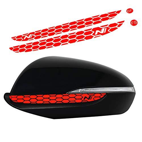 Spiegelstreifen Spiegel Aufkleber Folie Streifen Dekor Außenspiegel Rückspiegel Autoaufkleber Waben Wabenmuster Plott (Neon Rot (DS014))