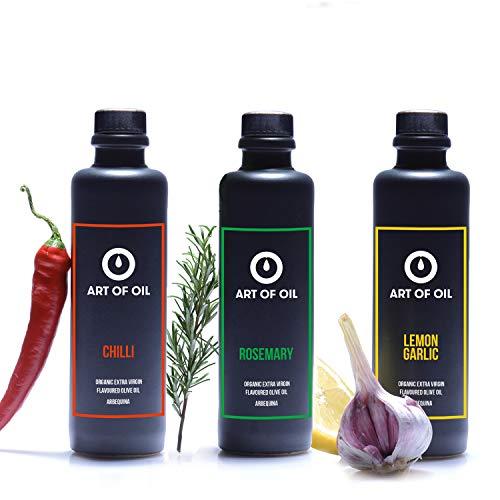 Geschenkset | 200ml Olivenöl mit Zitrone Knoblauch, Chili Öl & Rosmarinöl | Ideales Grillzubehör | Tolle Grillgewürze Ergänzung