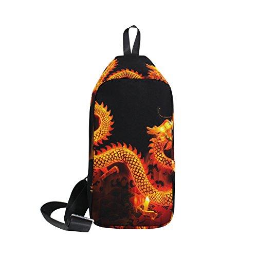 COOSUN Chino Dragon Linterna Sling Bag Hombro Pecho Cruz Cuerpo Mochila Ligera Casual Mochila para Hombres y Mujeres