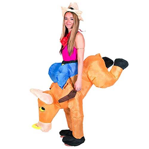 LOVEPET Niño Adulto Bull Inflable Ropa De Halloween Cowboy Knight Costume Bull Knight Cowboy Party Atrezzo De Rendimiento Stage Show Traje De Dibujos Animados