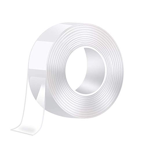Reutilizable nano tape, 9.8FT/3Meter cinta adhesiva lavable, Multifuncional cinta doble cara transparente para cocina, alfombra, llaves, fijación de fotos