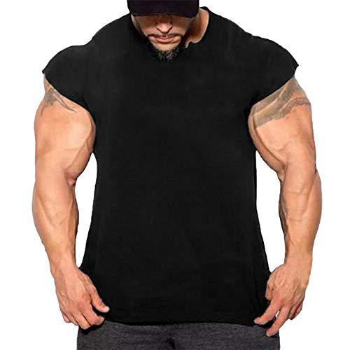 Fenverk Herren Fitness Shape Shirt Figur Formend Training Achselshirts Weste Sauna Schwitzeffekt Tank Top Stark Gym Bodyshape Mit Breit TräGer(Schwarz 1,L)