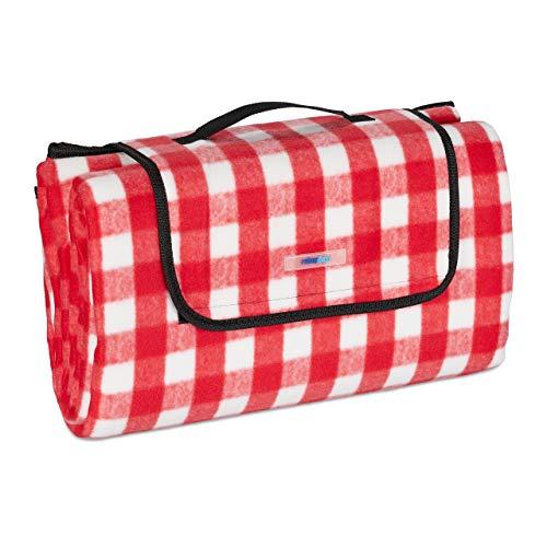 Relaxdays XXL Picknickdecke, 200 x 200 cm, Fleece Stranddecke, wärmeisoliert, wasserdicht, mit Tragegriff, rot/weiß