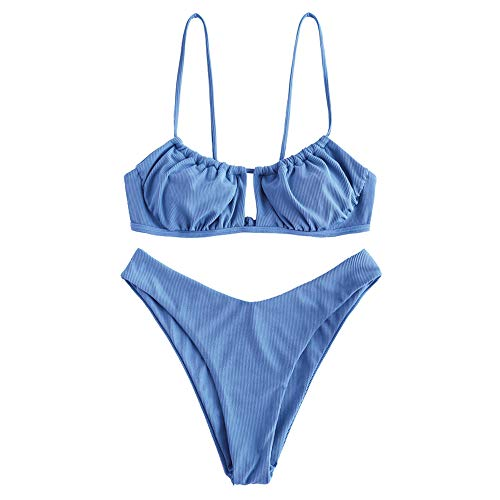 ZAFUL Women's Elastic Strap Ruched Tie Front High Cut Bandeau Bikini Set Swimsuit (W-Light Blue, M)