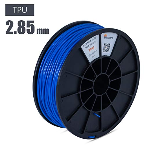 Msunlord TPE 3D Printer Filament, 95A TPE 2.85mm (Accuracy +/- 0.05mm) Flexible 3D Printing Filament, 0.95Kg Spool, Blue for 3D Printers or 3D Pens