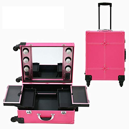 KINYNE Maletín para Maquillaje Trolley Case Carretilla De Mesa De Tren Cosmético De Artista Espejo 4 Ruedas Hollywood con Luces,Pink