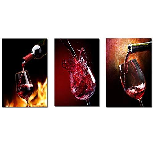 Copa de Vino Tinto Cuadro en Lienzo, Restaurante/Cocina/Mesa Comedor HD Modernos Modular Poster Impresiones Cuadros de Salón Artístico Impreso
