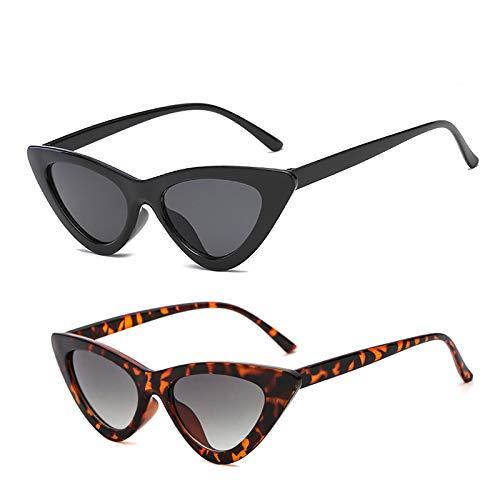 YOSHYA Retro Vintage Narrow Cat Eye Sunglasses for Women Clout Goggles Plastic Frame (Black Grey + Leoaprd Grey)