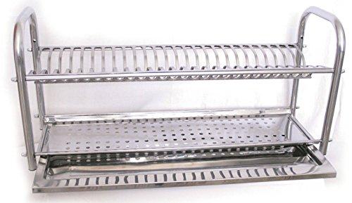 Escurreplatos de 80 cm, de Acero Inoxidable con Soporte. Fabricado en Italia