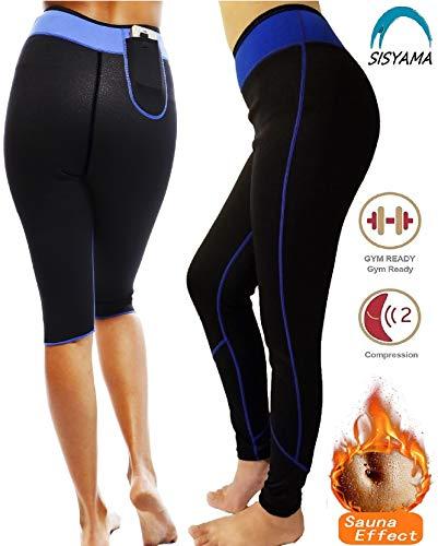 SISYAMA Anti Cellulite Weight Loss Hot Slimming Sweat Sauna Neoprene Long Pants (Blue/Pants, X-Large)