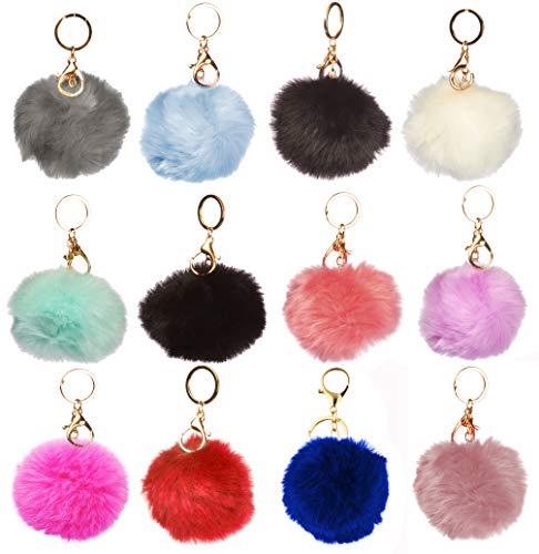 1 Dozen of Faux Fur Pom Pom Keychains (J2208 Pack B)