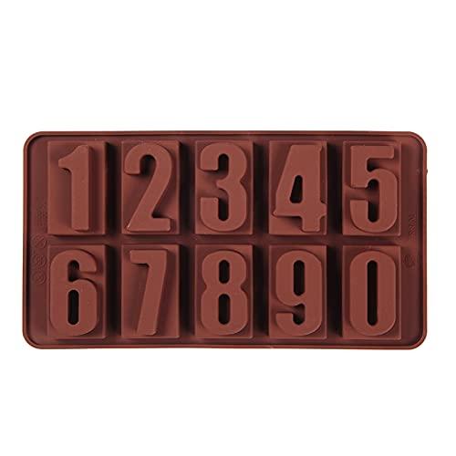 Molde para hornear 1 PC Números de silicona Molde de chocolate Galletas Frío 3D Forma Digital Fondant Pastel Atención for hornear Jalea Candy Pastelería BRICOLAJE Herramientas de decoración Silicona