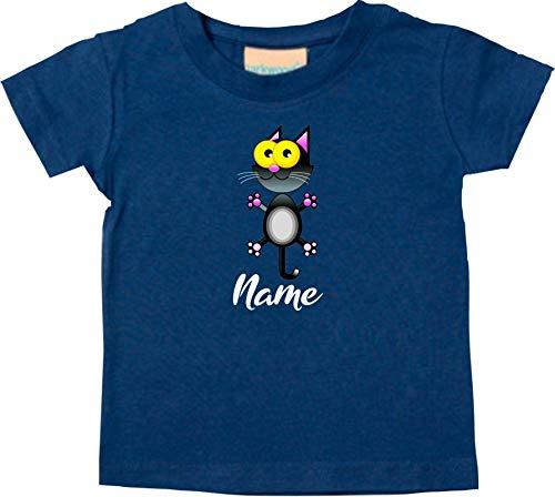 Shirtstown Bébé Kids-T, Chat Chat Chatons Chat avec Nom Souhaité Animal Animal Nature - Turquoise, 18-24 Monate