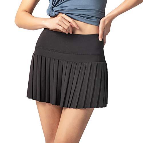 XPuing Falda de tenis plisada elástica de secado rápido con bolsillo interior lateral para correr, entrenamiento, fitness, yoga, trotar
