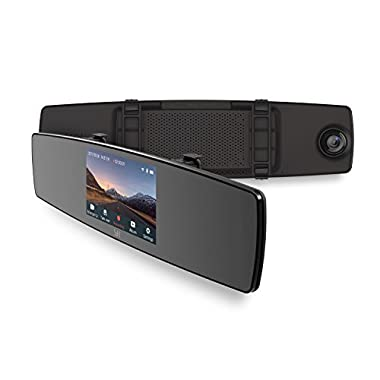 YI Mirror Dash Cam, Dual Dashboard Camera Recorder with Touch Screen, Front Rear View HD Camera, G Sensor, Reverse Monitor, Loop Recording