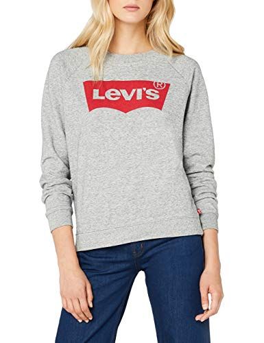 Levi's Damen Sweatshirt Relaxed Graphic Crew/Fleece Batwing Smokestack Htr 0, grau, Small
