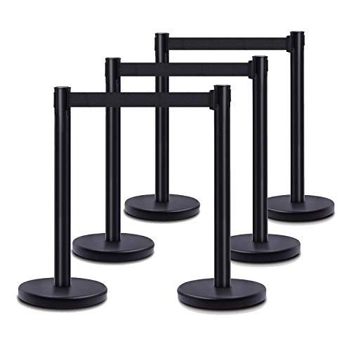 DuraSteel VIP Series Standard Rope Barriers - 6 Pcs Set Heavy Duty Black Tuff Tex Crowd Control Stanchions - 36