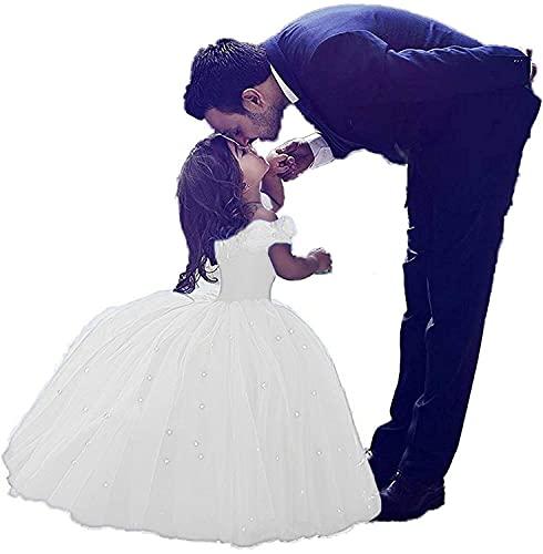 CDE Kinder Aschenputtel Prinzessin Kleid mit Strass Mädchen Lang Tüllkleider Schulterfrei Ballkleider Cocktailkleid (Weiß, Größe 12)
