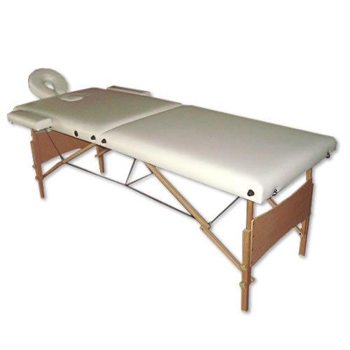 Melko Massageliege Profi 2, 3 oder 4 Zonen aus Aluminium und Holz, klappbar und höhenverstellbar - inkl. Schutzhülle (2 Zonen, Creme)
