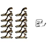 KT Brass Antique Zinc Heavy Supports/Curtain Holders/Curtain Brackets/Holders Door and Window for Single Rod, 1 Inch -10 Pieces (5 Set)(Free Towel Holder) (Made in India)