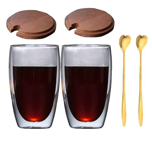 Taza de cristal de doble pared con tapa de bambú y cuchara en forma de corazón, taza de café de cristal, taza de café de cristal, 450 ml, transparente