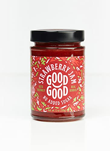 Sweet Strawberry Jam by Good Good - 12 oz   330 g - Keto Friendly No Added Sugar Strawberry Jam - Keto - Vegan - Gluten Free - Diabetic (Strawberry)