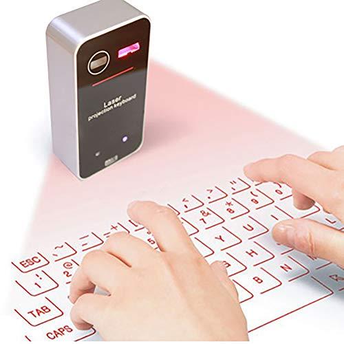 HYwot Kabellose virtuelle Projektionstastatur, tragbare HD-Projektionstastatur mit Bluetooth-Lautsprecher- / Sprachübertragungsfunktion für das iPhone Android-Smartphone Ipad Tablet PC Notebook