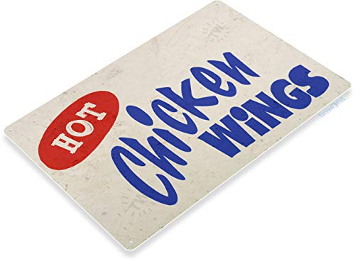 Tinworld TIN Sign Hot Chicken Wings Sign Fresh Market Fair Grounds Carnival Food Truck Metal Sign Decor C629