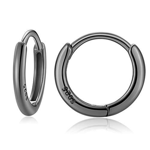 925 Sterling Silver Small Hoop Earrings for Women Men Girls 12mm Black Round Circle Sleeper Huggie Hinged Cartilage Hoops Earrings
