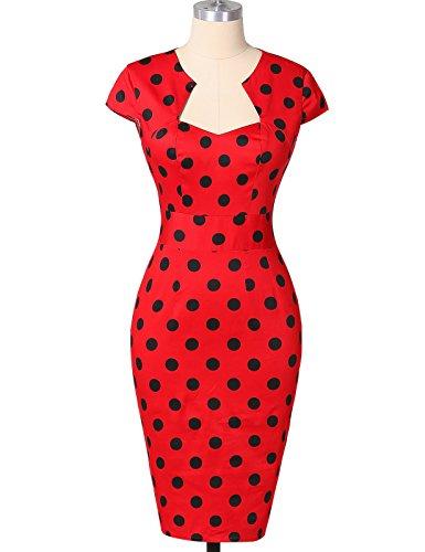 50er Jahre Kleid Vntage & Rockabilly Stil knielang kurzarm Polka Dot Kleid ~ rot - 5