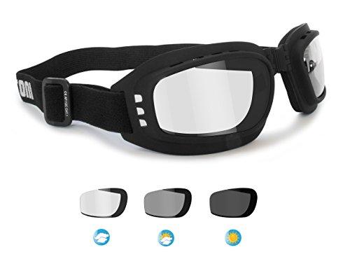Bertoni Motorradbrille Photochrome Antibeschlag - F112A Schwarz Schutzbrille Selbsttönend Bikerbrillen Automatische Scheibentönung