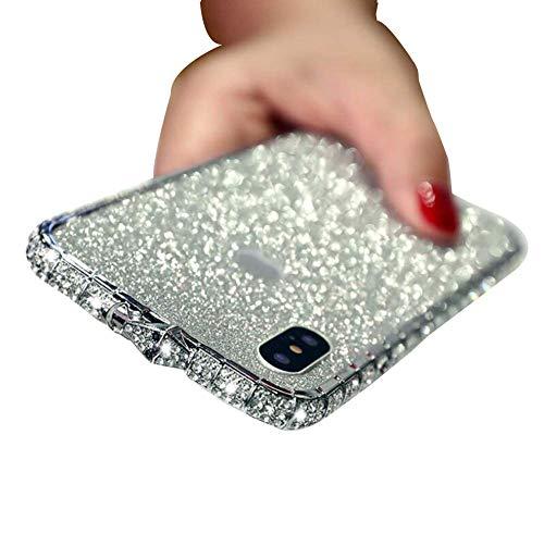 Funda para iPhone Case Glitter Cute Phone Case Niñas con Kickstand Bling Diamante Rhinestone para Niñas Mujeres,8 | Plata