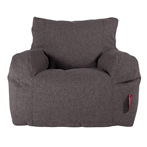 Lounge Pug, Sitzsack Ohrensessel mit Hocker, Interalli Wolle Grau