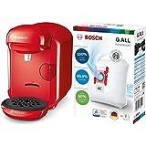 Bosch Hogar TAS1403 Cafetera Multibebidas Automática de Cápsulas, color Rojo + BBZ41FGALL Bolsas para aspirador