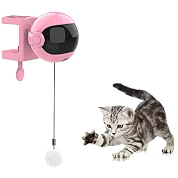 Jouet pour chat interactif automatique, peut être tourné à 360 degrés, ascenseur électrique, jouet pour chat automatique, fait pivoter automatiquement la balle pour animaux de compagnie (blanc) (Rose)