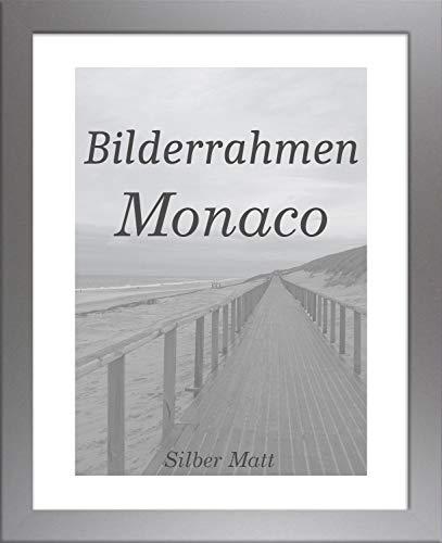 Homedeco-24 Monaco MDF Bilderrahmen ohne Rundungen 70 x 50 cm Größe wählbar 50 x 70 cm Silber matt mit Acrylglas Antireflex 1 mm