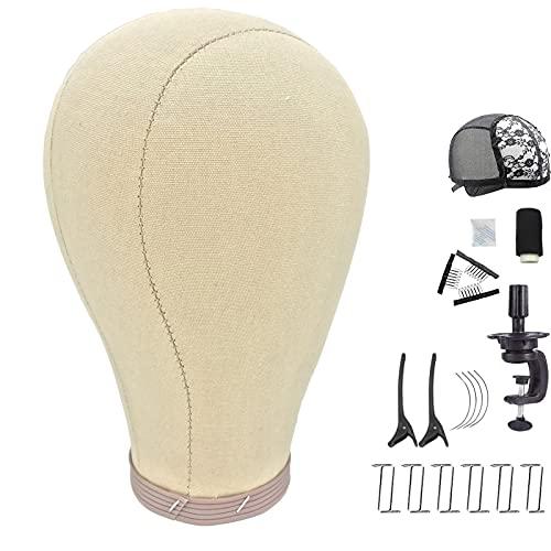 Baisite, testa di tela di sughero, testa di manichino con supporto da tavolo, testa di tela per parrucche, supporto per parrucche, parrucche, spilli a T, filo da cucito marrone 53,3 cm