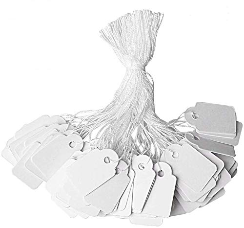 500Pcs Price Tags with String Attached by Divine Light, 0.91 x 0.55 inches Premium Writable Jewelry Tags, Paper Sale Tags with String Pricing Tags - for Anything You Need to Identify or Price