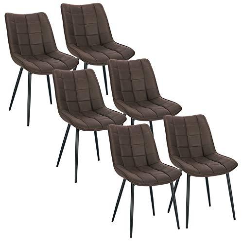 WOLTU 6 x Esszimmerstühle 6er Set Esszimmerstuhl Küchenstuhl Polsterstuhl Design Stuhl mit Rückenlehne, mit Sitzfläche aus Stoffbezug, Gestell aus Metall, Dunkelbraun, BH247dbr-6