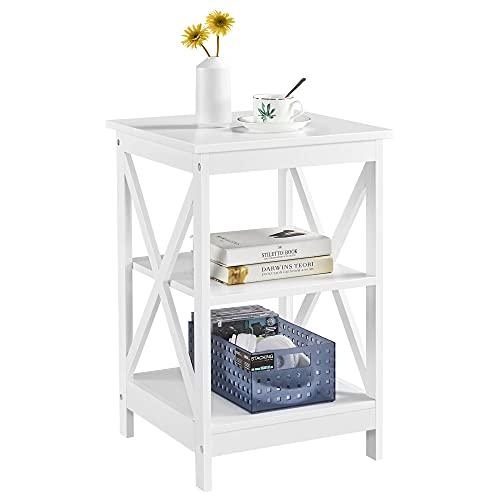 Yaheetech Beistelltisch 3 Ebenen, Nachttisch, Nachtschrank, Sofatisch Couchtisch für Schlafzimmer, Wohnzimmer 40x40x61cm Weiß