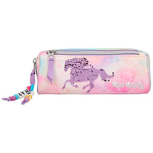 Depesche 11024 etui met twee vakken, Miss Melody Batik, roze, ca. 7,5 x 9,5 x 20 cm