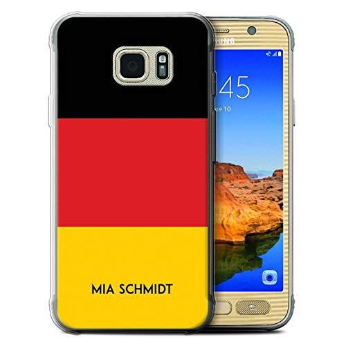 eSwish Personalisiert Individuell National Nation Flagge Gel/TPU Hülle für Samsung Galaxy S7 Active/Deutsches/Deutschland Design/Initiale/Name/Text Schutzhülle/Case/Etui
