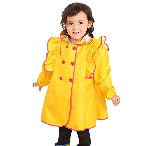 YANGYONGLI Ponchos Pluie Volant Princesse Belle Mode Enfant Bébé étudiant Fille Windproof,Yellow,M